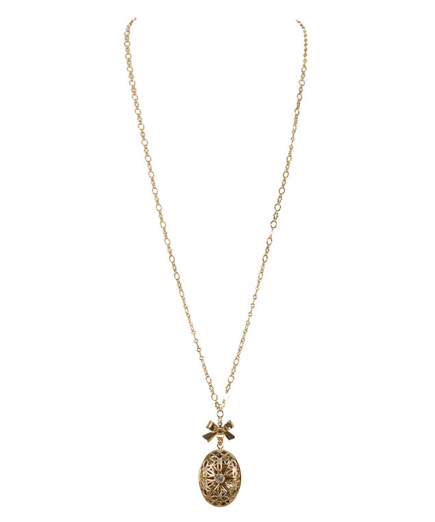 Locket & Bow Pendant Necklace, Gold, hi-res
