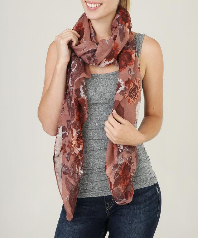 moody floral print scarf, BLUE MIX, hi-res