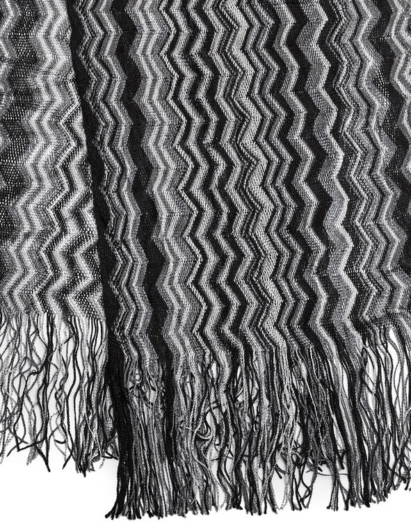 Black Zig Zag Fringe Scarf, Black/Grey/White, hi-res