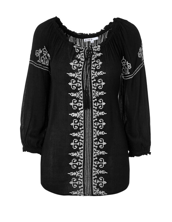 Long Sleeve Embroidered Blouse, Black/White, hi-res