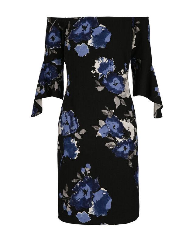 Bell Sleeve Romance Dress, Black/Blue Print, hi-res