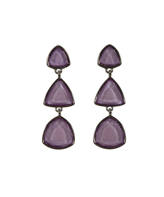 Glitter Stone Drop Earring, Iced Violet/Rhodium, hi-res