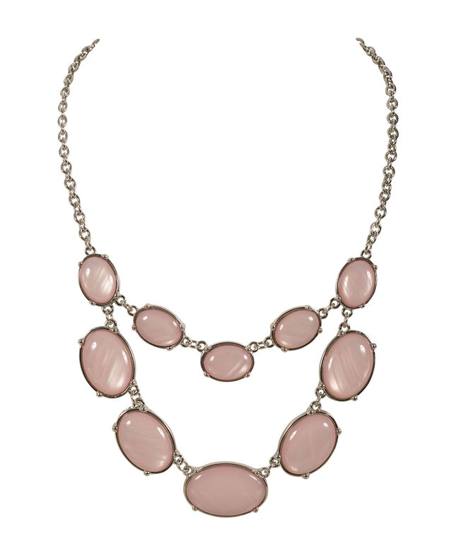 Oval Cateye Necklace, Misty Pink/Rhodium, hi-res