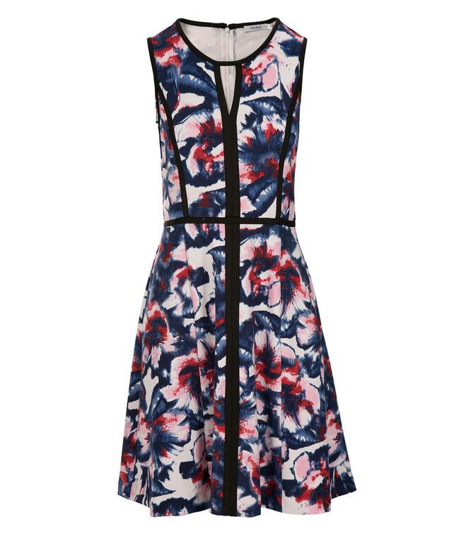 Keyhole Floral Scuba Dress, Red/Blue/Pink, hi-res