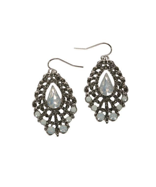 Crystal Statement Earring, Opal/Rhodium, hi-res