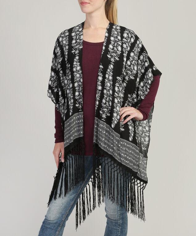 fly front kimono, BLACK/WHITE, hi-res