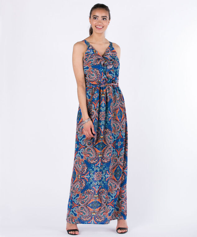 Luxology Ruffle Front Maxi Dress, Royal Blue/Orange, hi-res