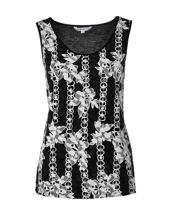 Floral Lace Front Top, Black/White, hi-res