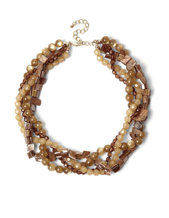 Brown Twisted Bead Necklace, Brown/Gold, hi-res