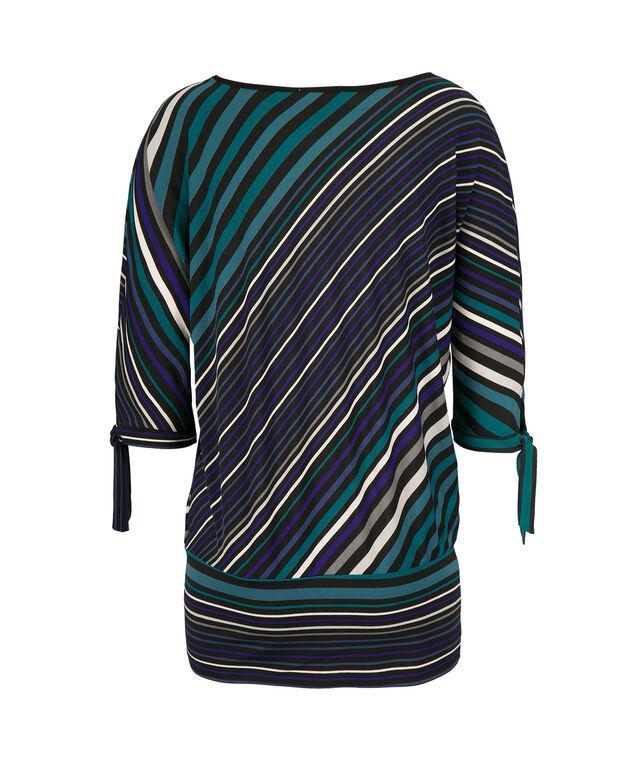 Tie Sleeve Blouse, Teal Print, hi-res