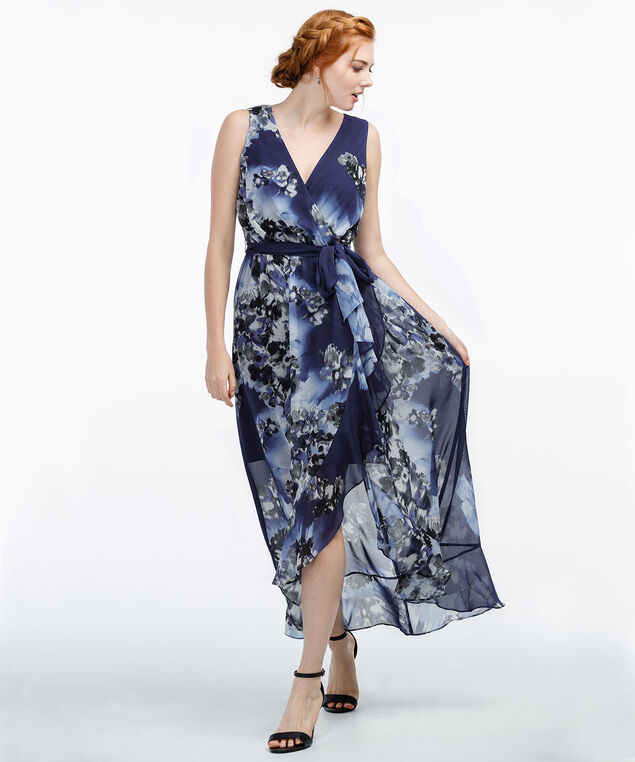Tulip Skirt Maxi Dress, Navy Print, hi-res