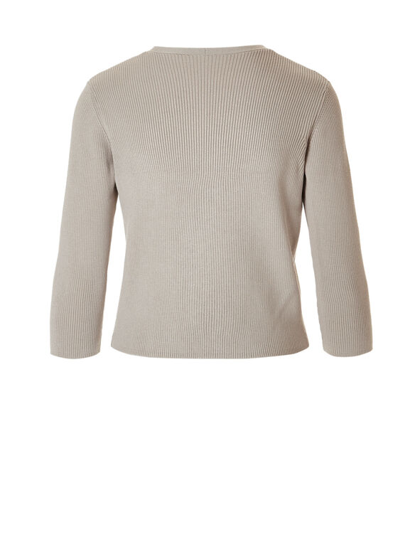Short Topper Sweater, Stone, hi-res