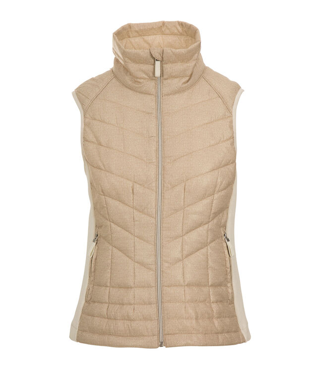 Knit Insert Quilted Vest, Winter Winter/Gold, hi-res