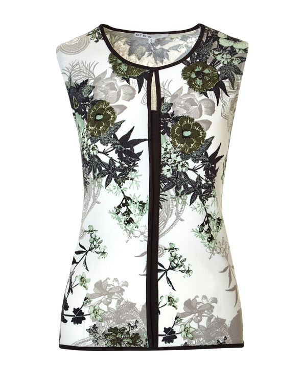 Mint Floral Keyhole Top, Ivory/Mint/Black, hi-res