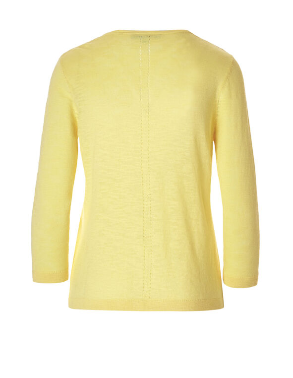 Yellow Pointelle Knit Topper, Yellow, hi-res
