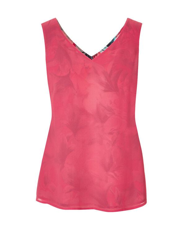Floral Print Reversible Blouse, Coral/White/Mint, hi-res