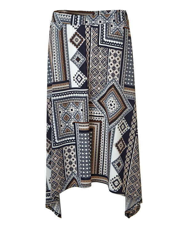 Stone Tribal Print Skirt, Stone/Nutmeg/Navy, hi-res