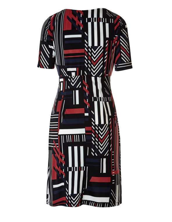 Geometric Print Shift Dress, Navy/Red/White, hi-res