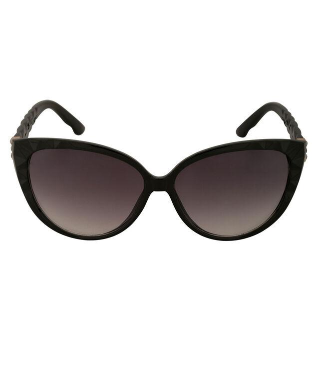 Cateye Textured Frame Sunglasses, Black, hi-res