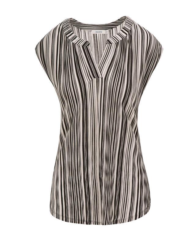 Extended Sleeve Henley, Black/White Print, hi-res
