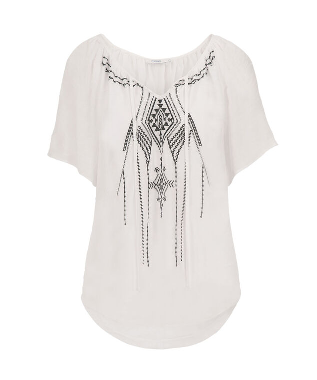 Cold Shoulder Blouse, True White, hi-res