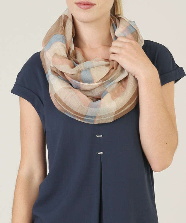 mixed plaid eternity scarf, BROWN MIX, hi-res