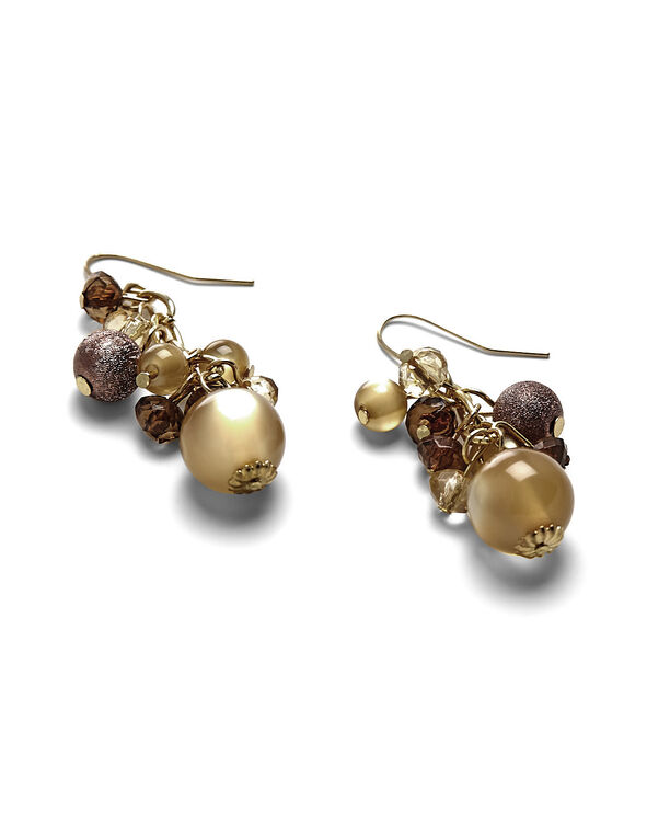 Brown Bead Cluster Earring, Gold/Brown, hi-res