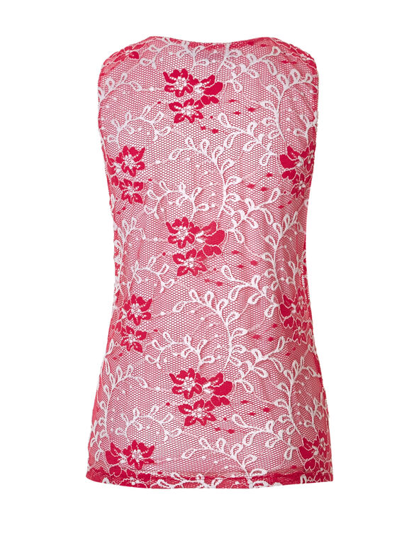 Coral Floral Mesh Top, Coral/White, hi-res
