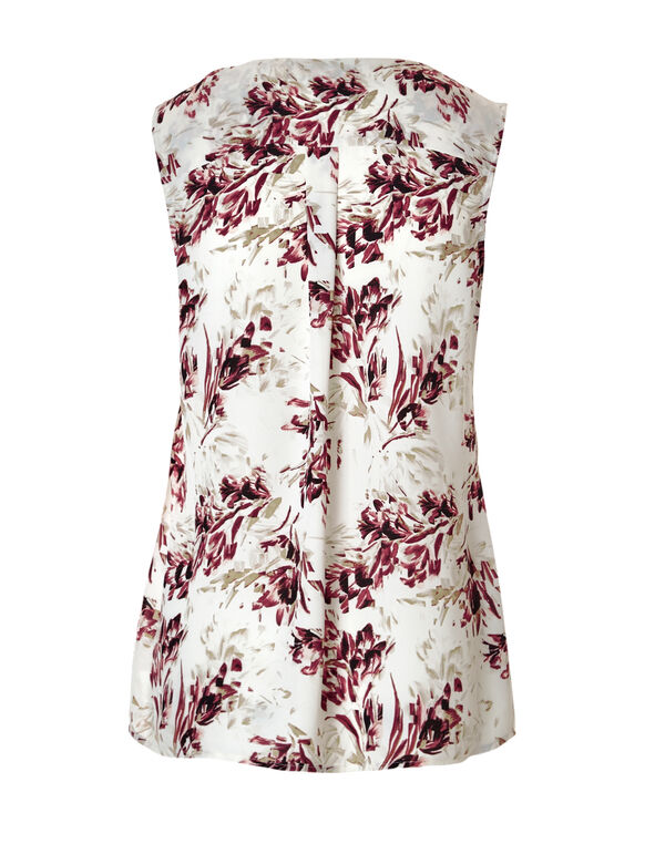 Claret Floral Ruffle Front Blouse, Ivory/Claret/Nude, hi-res
