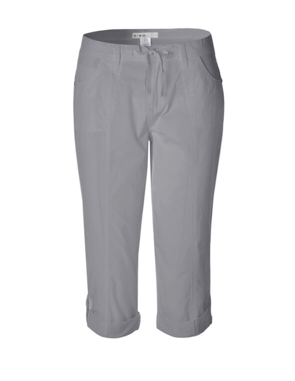 Grey Poplin Roll Up Capri, Grey, hi-res