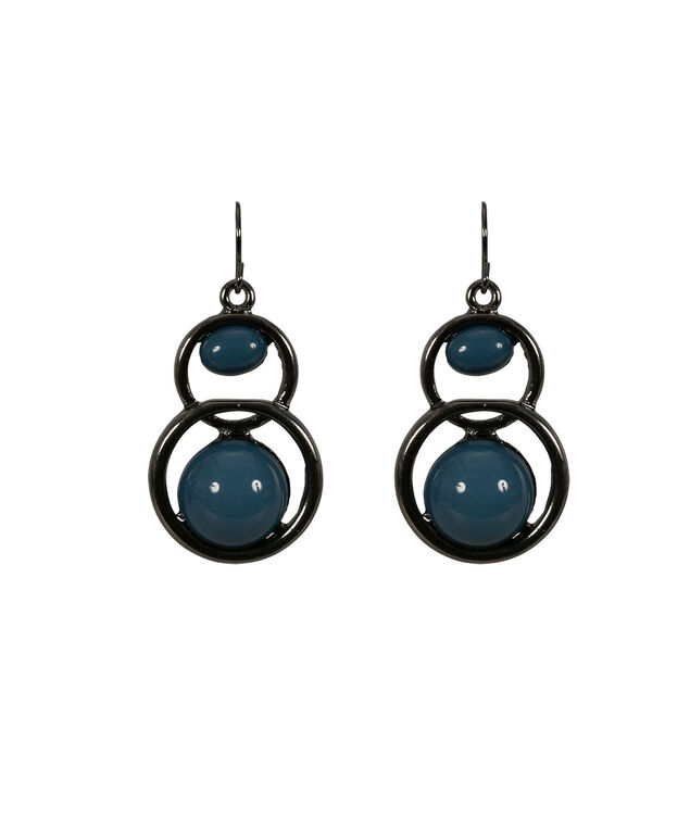 Bead Statement Earring, Deep Teal/Hematite, hi-res