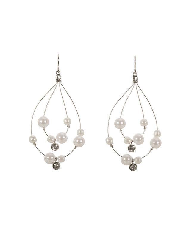 Wire Teardrop Earring, White/Rhodium, hi-res