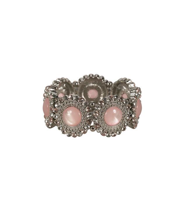Cateye Crystal Stretch Bracelet, Strawberry Daiquiri/Rhodium, hi-res