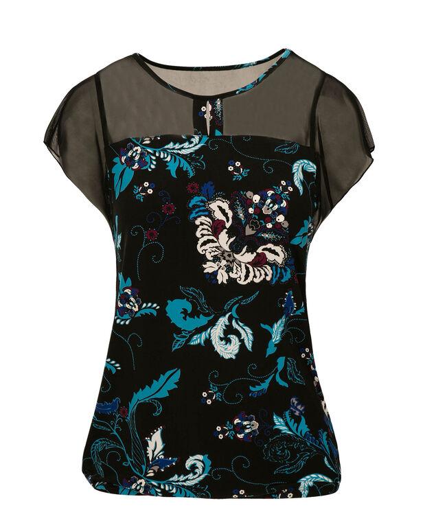 Short Sleeve Illusion Neck Bubble, Turquoise Print, hi-res