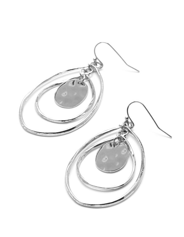 Silver Tiered Teardrop Earring, Silver, hi-res