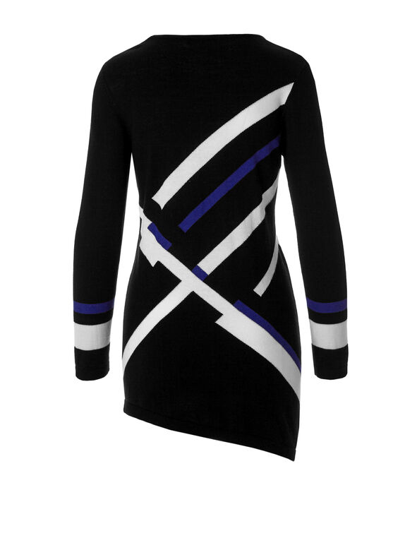 Colour Block Tunic Sweater, Black/Ivory/Cobalt, hi-res