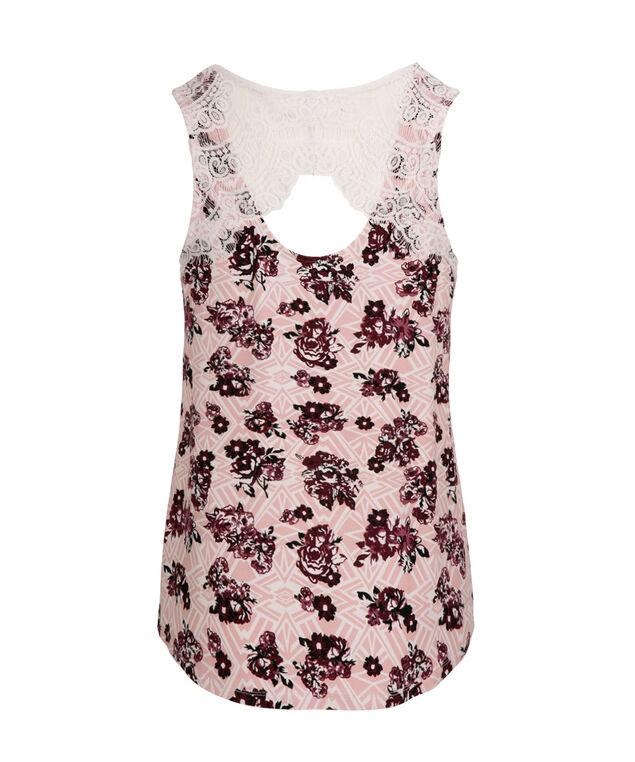 Crochet Back Shirt Tail Tank, Pink Print, hi-res