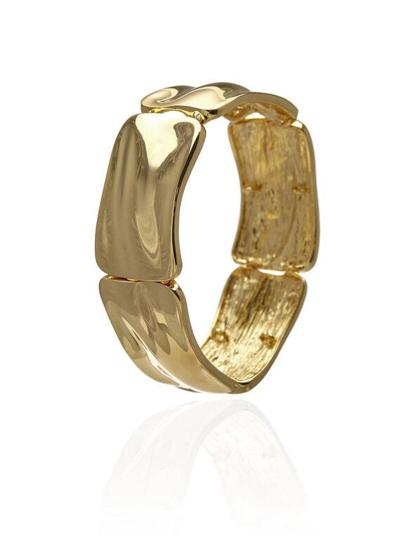 Hammered Pendant Stretch Bracelet, Gold, hi-res