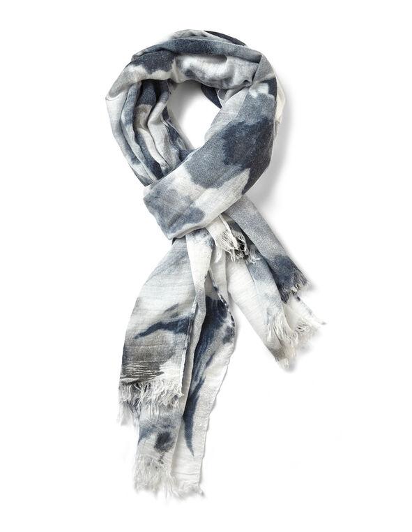 Blue Floral Scarf, Grey/Denim/Washed Blue, hi-res