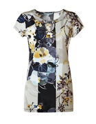 Floral Mix Crystal Detail Tunic Top, Navy/Yellow/Latte/Silver/Black, hi-res