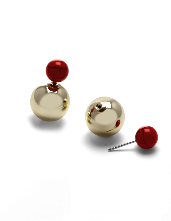 Gold Coral Pearl Earring, Gold/Coral, hi-res