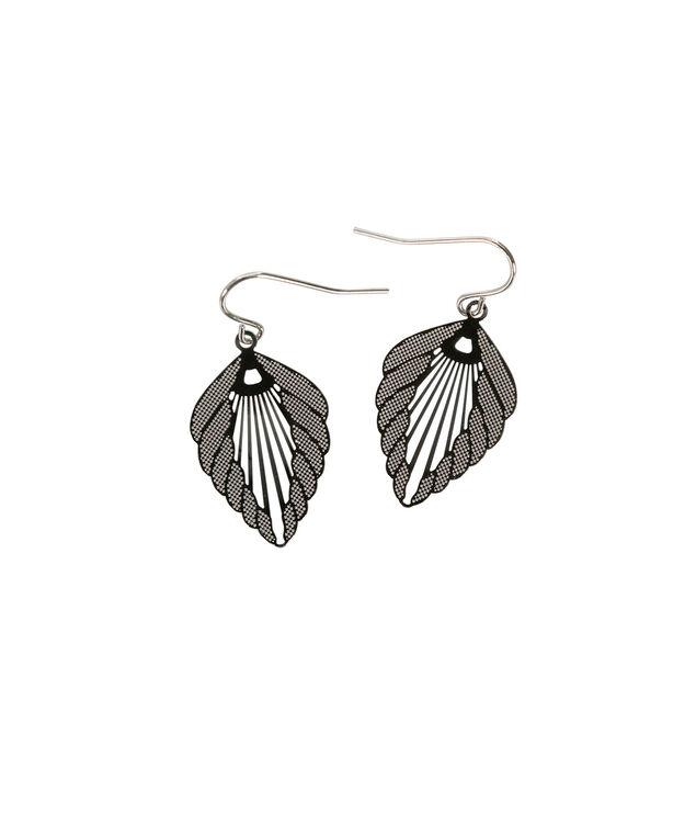 Etched Leaf Earring, Rhodium, hi-res