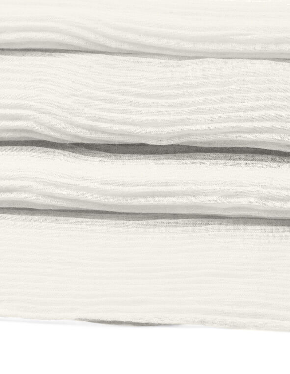Ivory Pleated Scarf, Ivory, hi-res