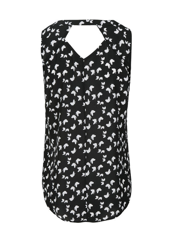 Henley Blouse, Black/White Print, hi-res