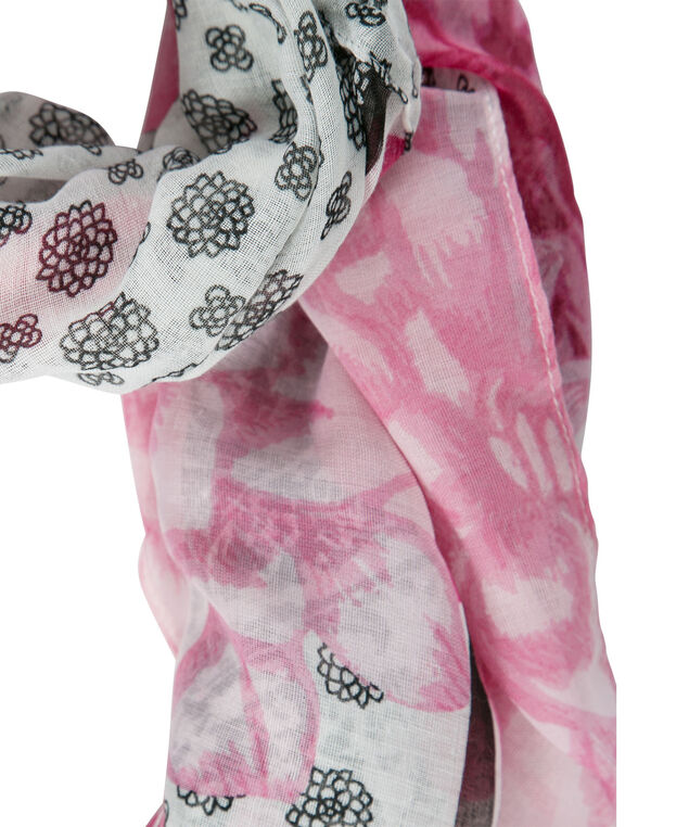 Mirror Floral Eternity Scarf, Pink/Black/White, hi-res