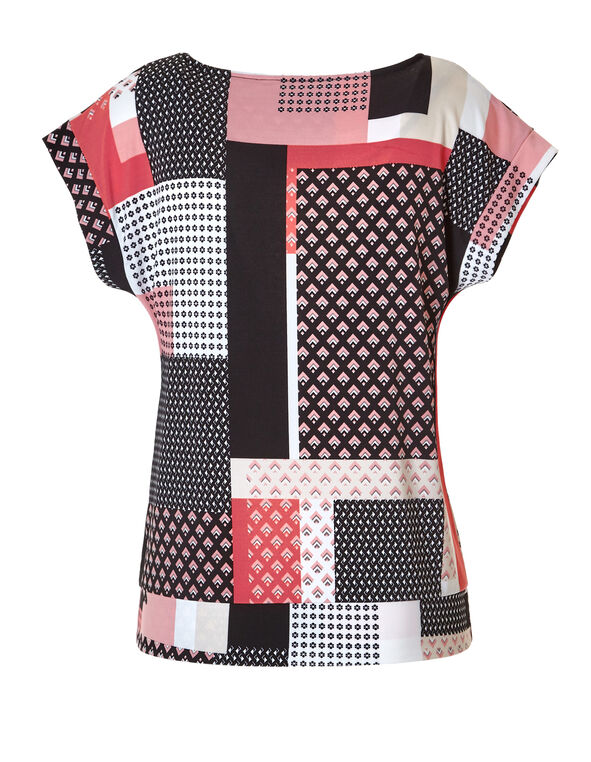 Mixed Print Side Tie Top, Black/Peony/Coral/White, hi-res