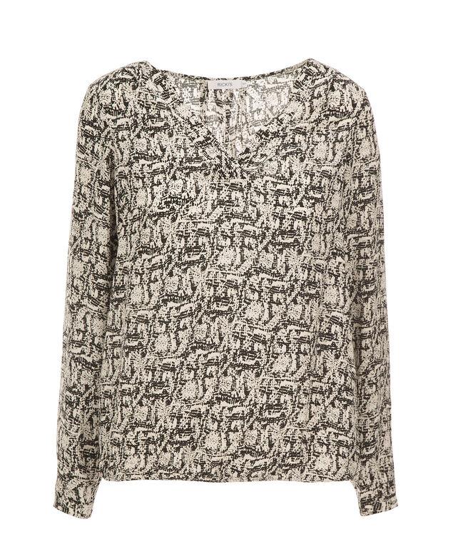 V-Neck Long Sleeve Blouse, Black/White Print, hi-res
