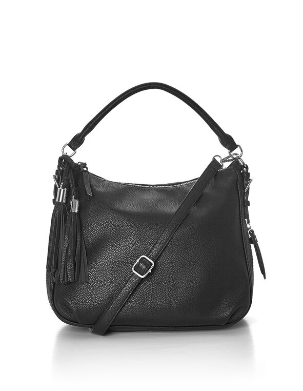 Black Hobo Tassel Bag, Black/Silver, hi-res