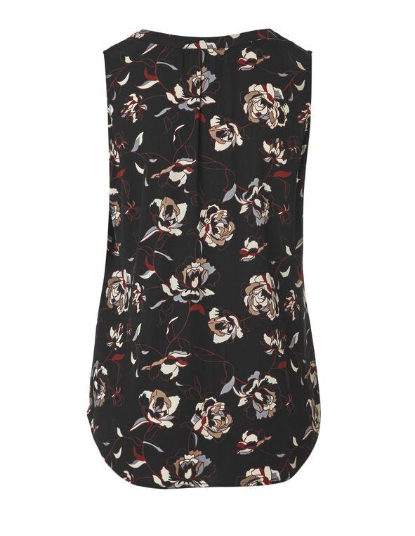 Floral Print Split Neckline Blouse, Black Print, hi-res