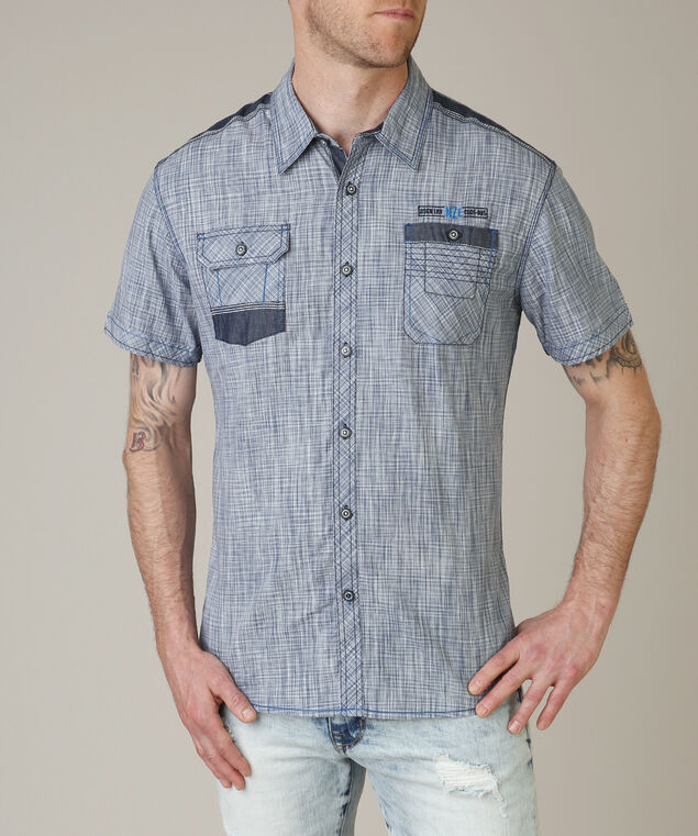 button front shirt - wb, BLUE, hi-res